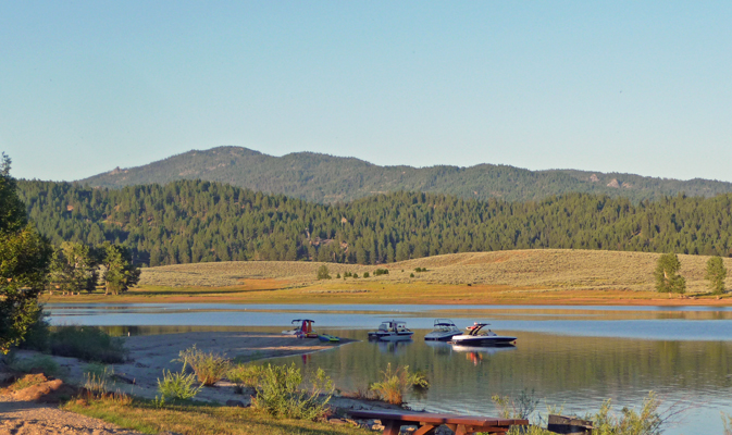Boats moored in inlet at Sugarloaf Campground ID