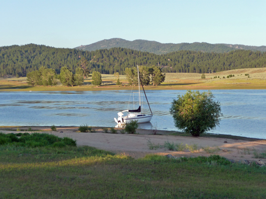 Sailboat moored at Sugarloaf Campground ID