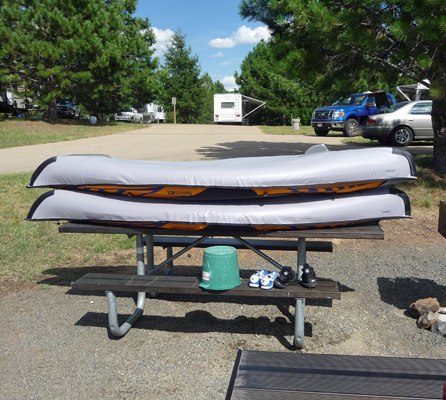 Kayaks on picnic table Sugarloaf Campground ID