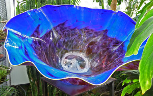 Blue glass bowl closeup